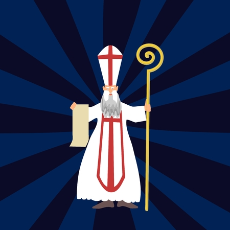 miter: Saint Nicholas with a long beard in traditional white clothing with a red cross miter a crosier.
