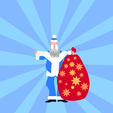 pere noel: Traditional christmas figure blue dressed with white fur trim carrying big red sack decorated with golden stars.