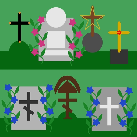 tombstones: Collection of tombstones and crosses