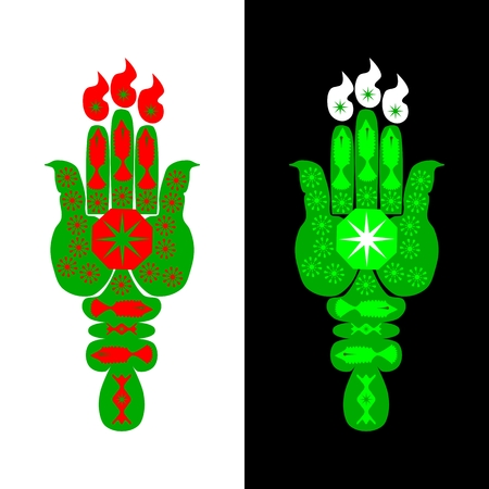 styled: Green hamsa hand styled into the shape of a torch