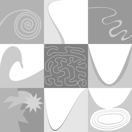 Set of nine very simple gray patterns Vector