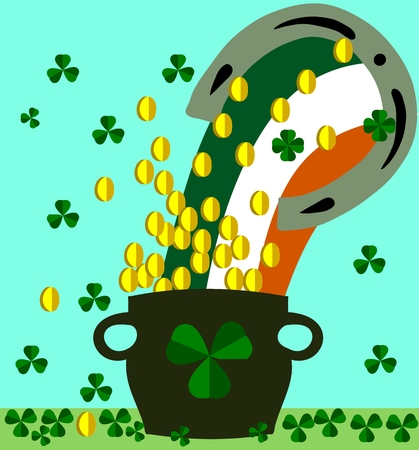 irish pride: St. Patricks Day concept. Iron horseshoe from which it comes in a rainbow of Irish national colors into a large pot. Falling shamrocks clovers and gold coins. Illustration
