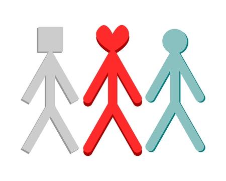 Three heavily stylized figures