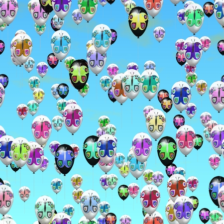 sidebar: Air party balloons with butterflies decor on sky. Horizontally seamless pattern - usable as horizontally sidebar. Digitally rendered graphic. Stock Photo