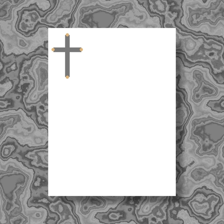 White writing paper with cross in header lying on gray marble board Stock Photo