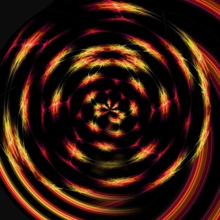streak lightning: circling brilliant yelloworange streaks around the circumference of an imaginary sphere on a black background Stock Photo