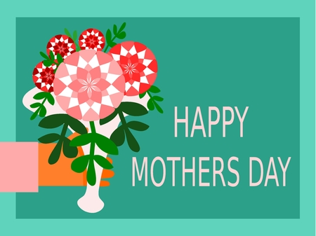 exhilaration: Congratulations card with the inscription Happy Mothers Day and hand with a bouquet of pink red flowers