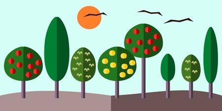 Flat graphic illustration of summer or autumn horizon with trees Illustration