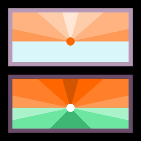 Two banners with radiant sun over horizon  stylized flat graphic