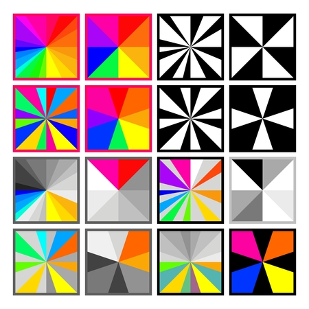 centralized: Set of square rainbow gray and black white buttons or backgrounds Illustration