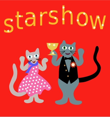 mouser: Cartoon illustration of cat show winner with cat couple under inscription starshow