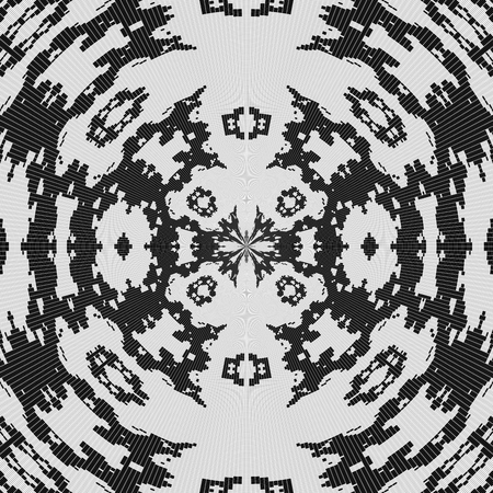crocheted: Abstract decorative white pattern on black background