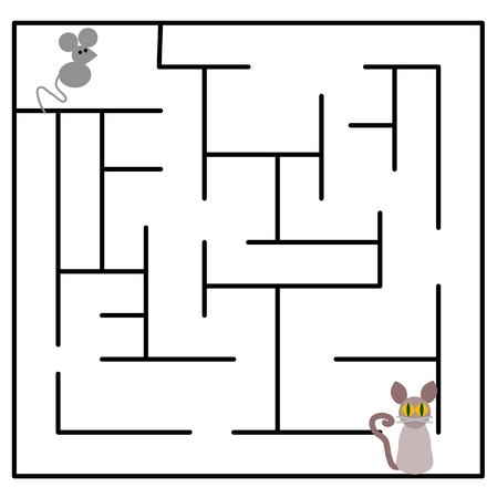 dormouse: Cartoon maze with cat and mouse