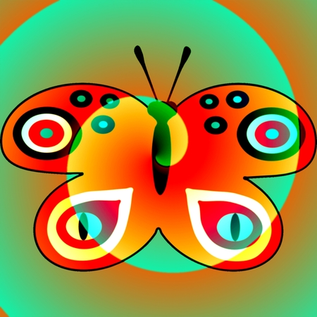 mingled: Vibrant red butterfly mingled with orange green helix pattern