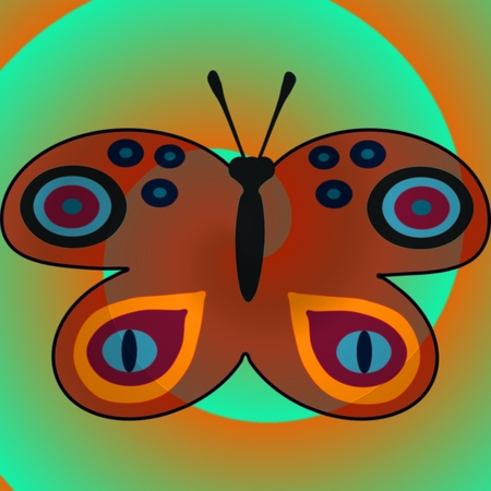 mingled: Cartoon butterfly blended on spiral background Stock Photo