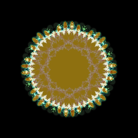 Ocher circle beaded lace fractal decorative trim on black background.