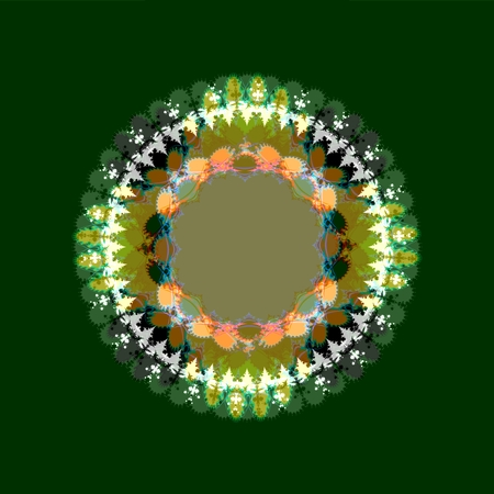 centralized: Decorative circular centralized lacy shape on green background