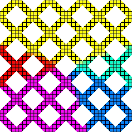 pixelation: Abstract grid pattern cropped of a rainbow pixelated mosaic texture  usable as frame for many small photos tableau or another contents