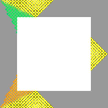 Modern gray frame with yellow orange green pixelated design element photo