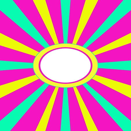 Crazy pink green yellow radiant background with oval space for text or another content in middle Vector