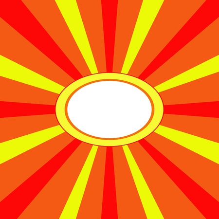 eye catcher: Red orange yellow radiant background with oval central free place