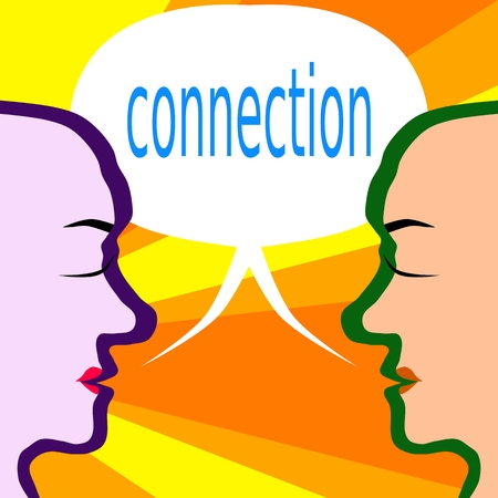 eye catcher: Two human head profiles with communication bubble with inscription connection Illustration
