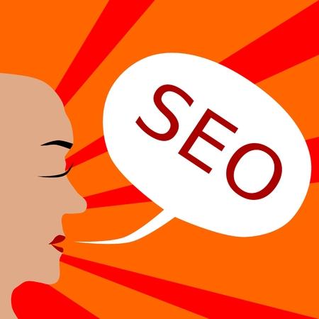 bald woman: Bald woman head profile with inscription seo in white communication bubble