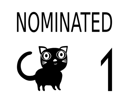nominated: Black white card with inscription nominatedcat and number 1. Information tag for cat show. Illustration