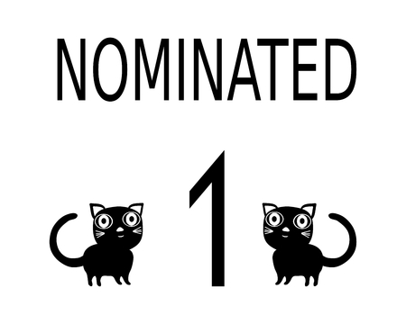 nominated: Simple black white card with inscription nominated two cats and number 1. Information label for cat show. Illustration
