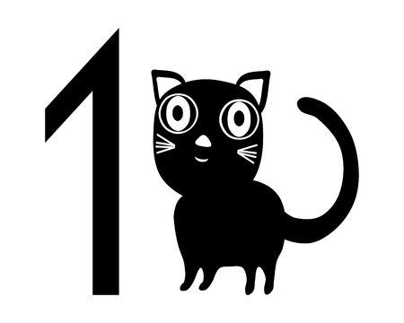 contestant: Template for registration tag for pet exhibition with number one and black white isolated cat