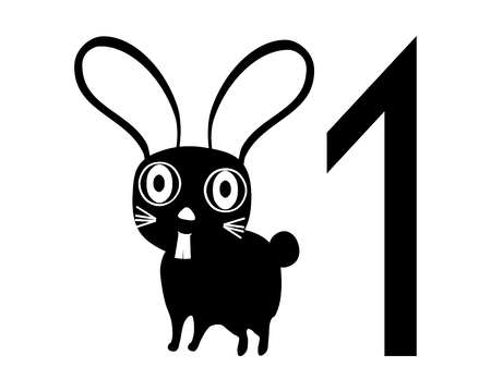 facing right: Template for registration tag for pet exhibition with number one and black white isolated rabbit facing right