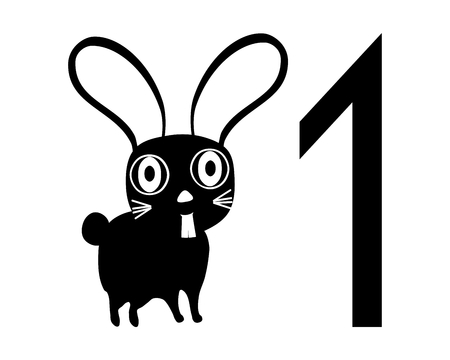 facing: Template for registration tag for pet exhibition with number one and black white isolated rabbit facing left Illustration