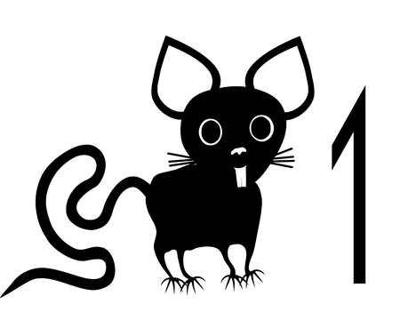 contestant: Template for registration tag for pet exhibition with number one and black white isolated rodent
