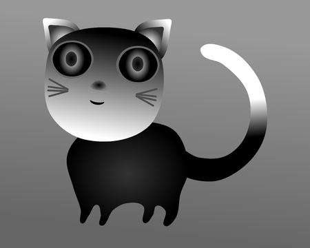 burmese: Simple stylized cat with big eyes  gradient raster illustration Stock Photo