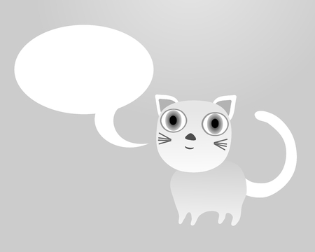 fine weather: Cute little bright cat with clear white communication bubble