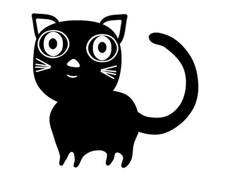Simple black stylized cat with big eyes isolated on white