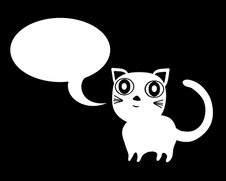 mouser: White cat with communication bubble on black background Illustration