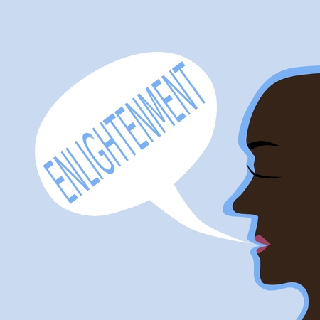Head profile with dark skin with communication bubble with blue inscription enlightenment. Flat graphic.