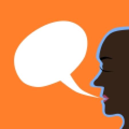 arbitrary: El perfil de la cara con un claro burbuja comunicaci�n fondo pixelada. Las burbujas de comunicaci�n en el interior es libre para contenido arbitrario. Foto de archivo