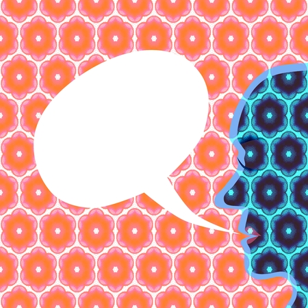 superimposed: Silhouette profile of a face on a colored background superimposed with a honeycomb pattern. White blank communication bubble for your text.