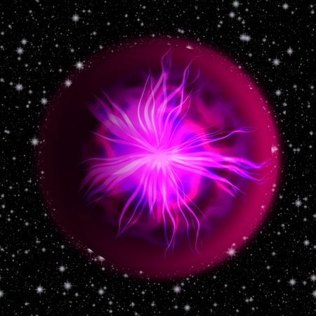 spiritual beings: Pink balls with an electrical discharge within the midst of the universe