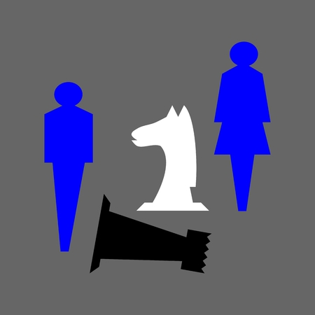 defeated: Heavily stylized blue figures of man and woman together with a white horse and defeated black chess tower on a gray background.