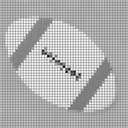 pixelated: Pixelated gray shades illustration of stylized rugby ball