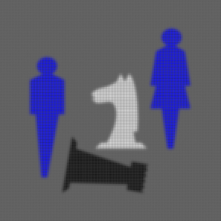 pixelation: Heavily stylized blue figures of man and woman together with a white horse and defeated black chess tower on a gray background. Pixelated illustration. Stock Photo