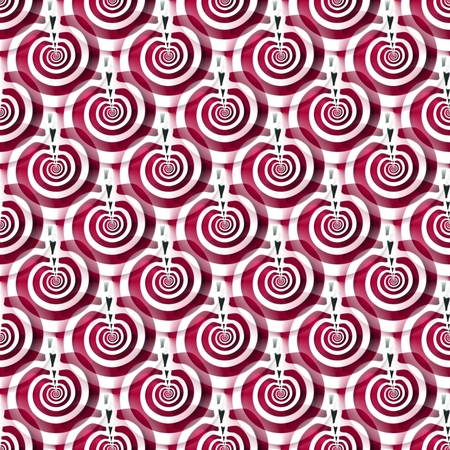 Seamless spiral apple stylized red white pattern