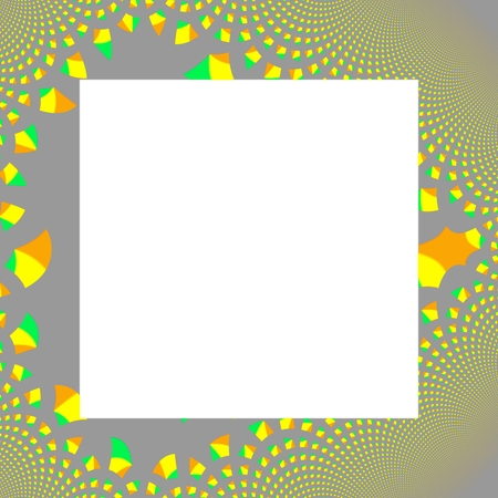 ornamentation: Border with gray yellow orange green fractal ornamentation. Inside is pure white area with the possibility of adding text or image as needed. Digitally rendered pattern.