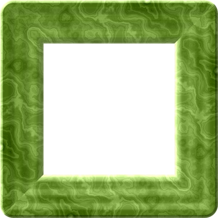 plasticity: Green decorative digitally rendered frame with white clear square space for your content Stock Photo