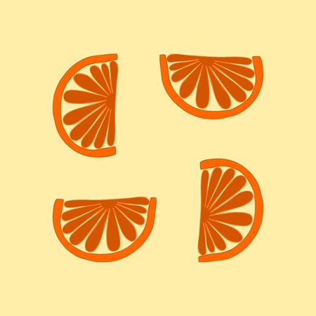 mandarin: Simple orange cartoon stylized tileable mandarin pattern Illustration