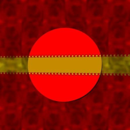 semitransparent: Red decorative blurred background with round label and gold semitransparent ribbon