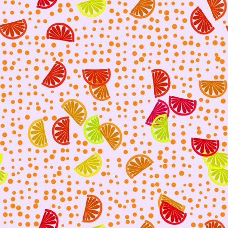 tangerine: Decorative optimistic orange red yellow seamless pattern with tangerine motif Stock Photo